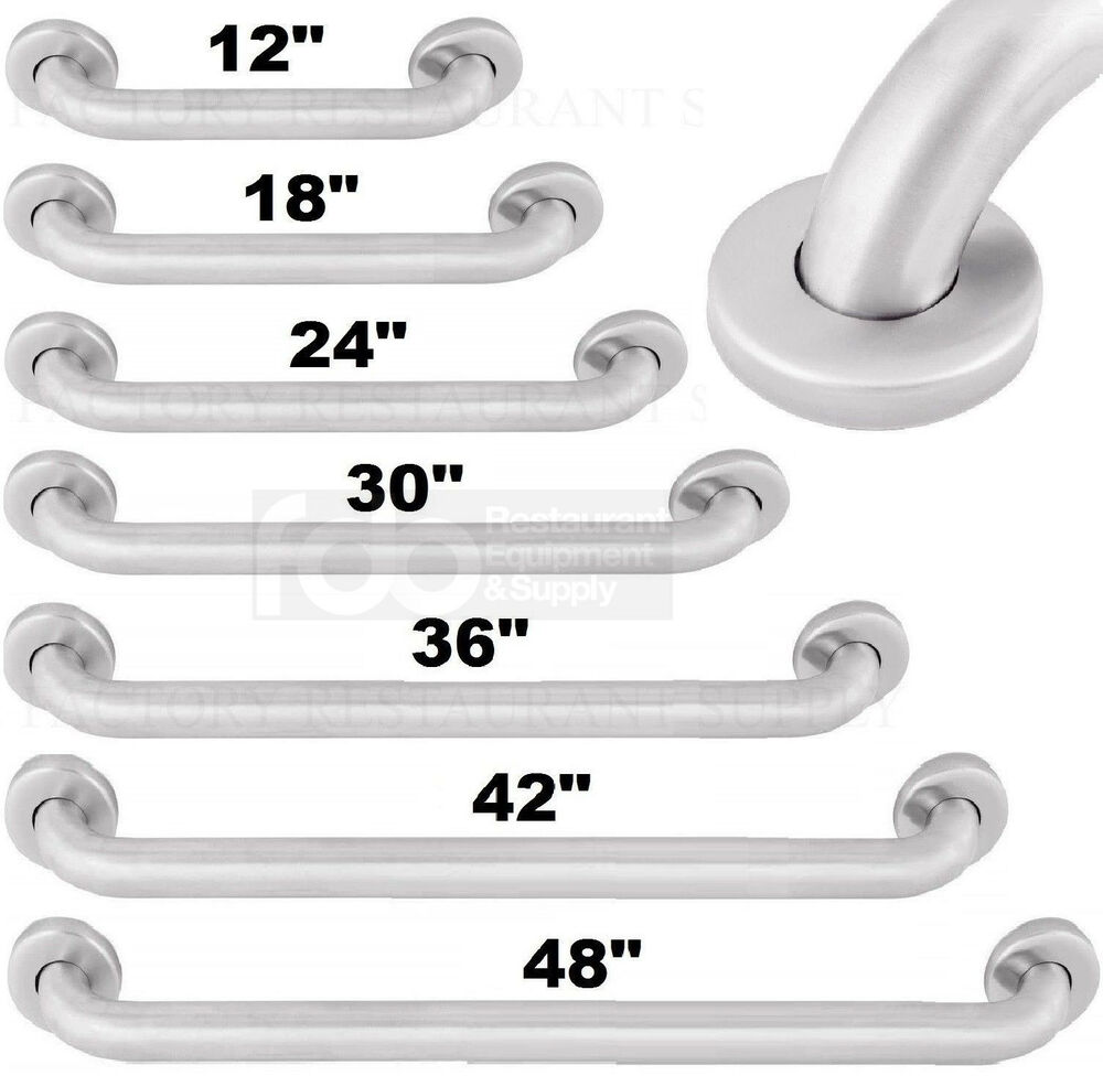 Commercial grab bar stainless steel bath bathroom safety handicap hand wall rail ebay for Commercial bathroom grab bars