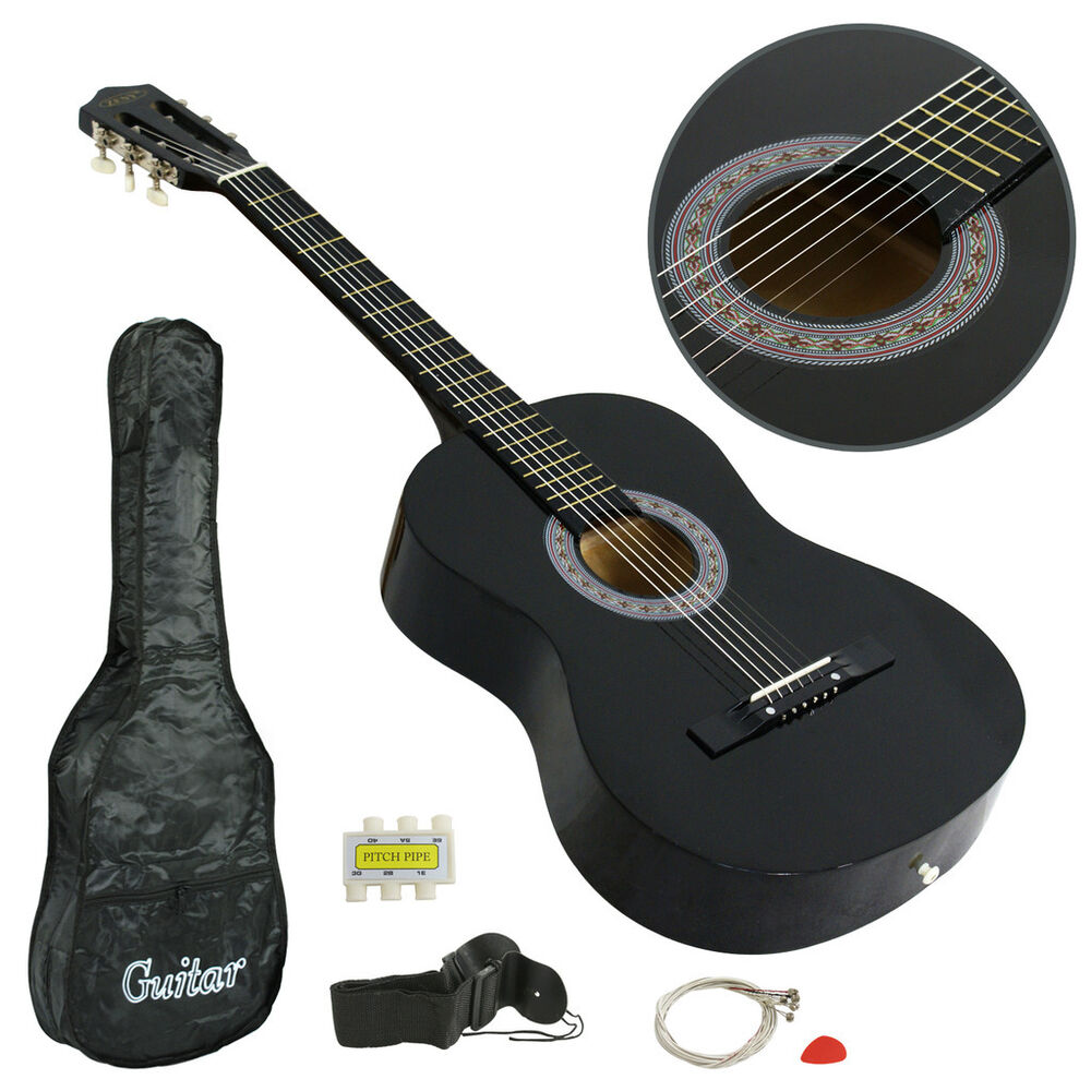 38 full size adult acoustic guitar gigbag strap tuner new beginner black child ebay. Black Bedroom Furniture Sets. Home Design Ideas