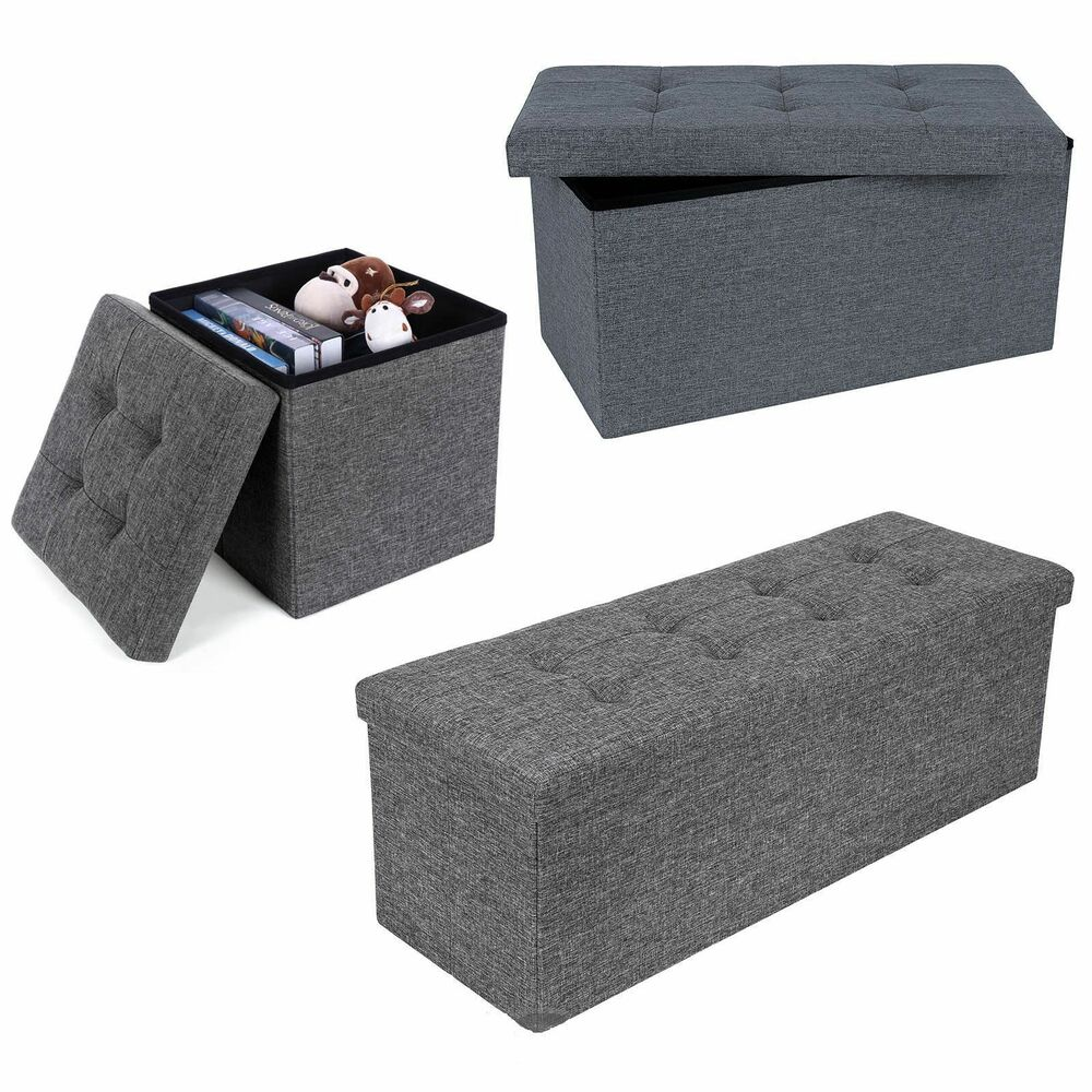 Grey linen folding storage ottoman padded seat stool chest for Storage ottoman seat