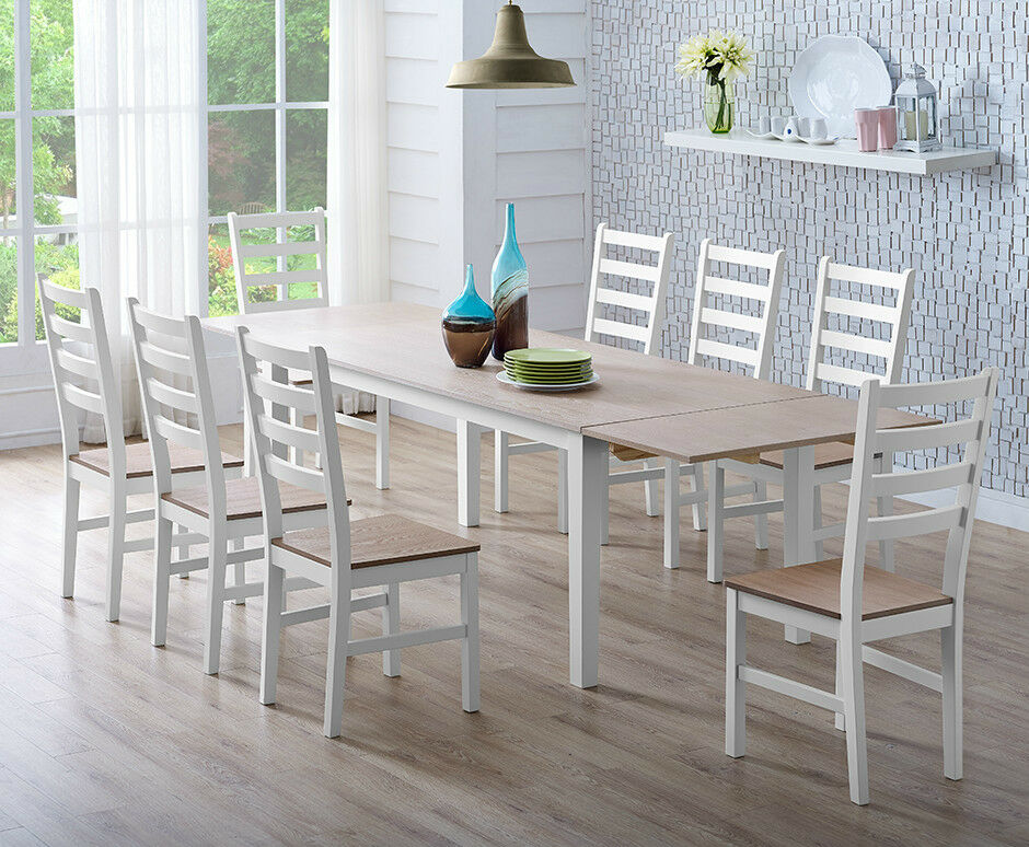 Dining Table And Chairs Set Dark Light Pine Wood With Extending