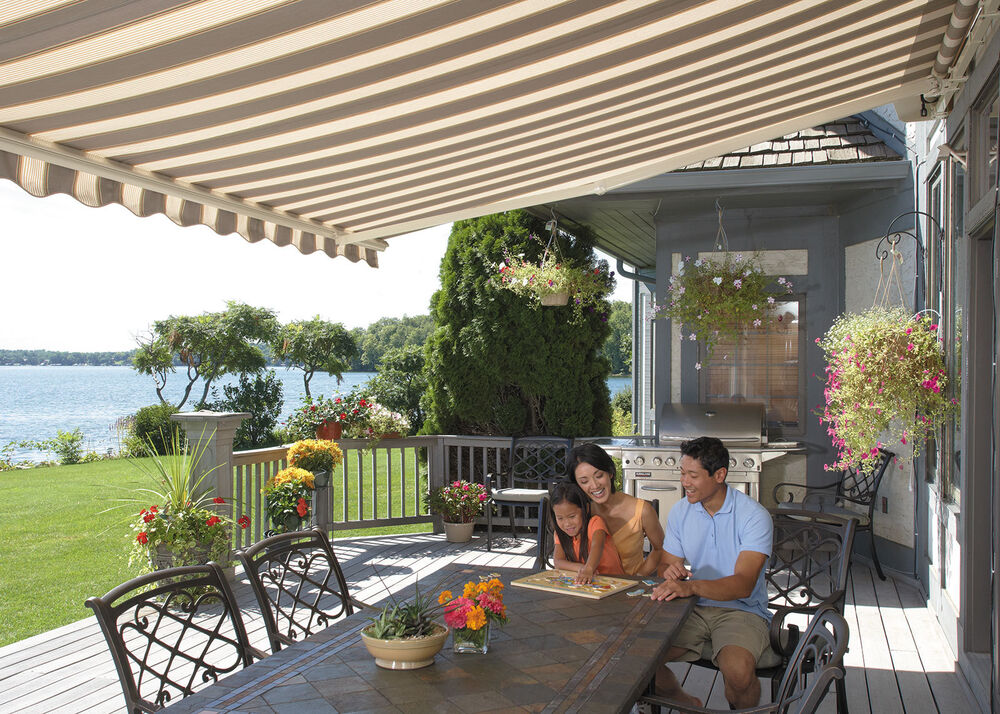 SunSetter Motorized Retractable Awning 16 Ft Acrylic Fabric Deck Patio Shade
