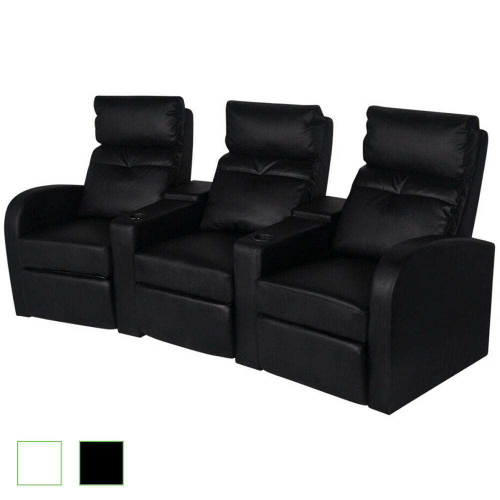 Artificial Leather 3seat Home Theater Recliner Sofa Lounge Seats Black White