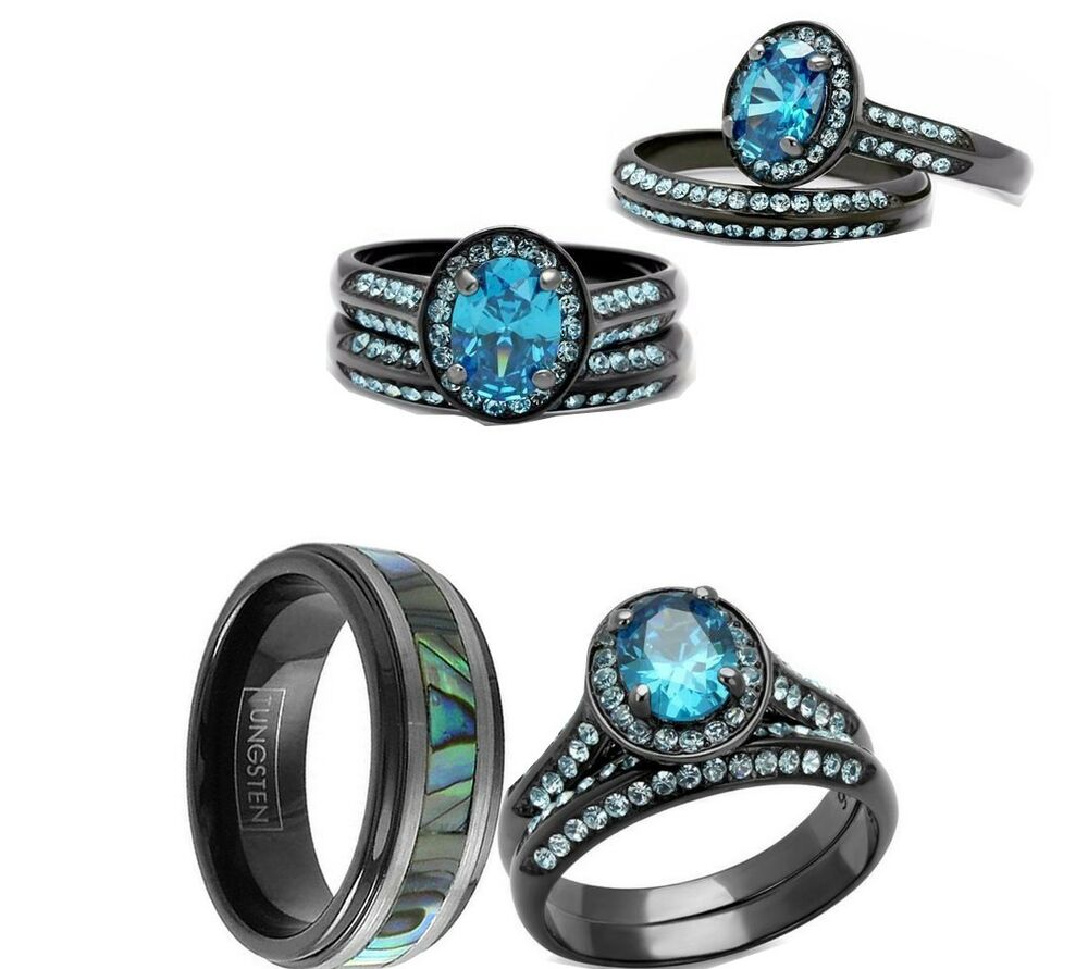 Wedding Rings For Her: His Tungsten And Her Cz Black Blue Stainless Steel