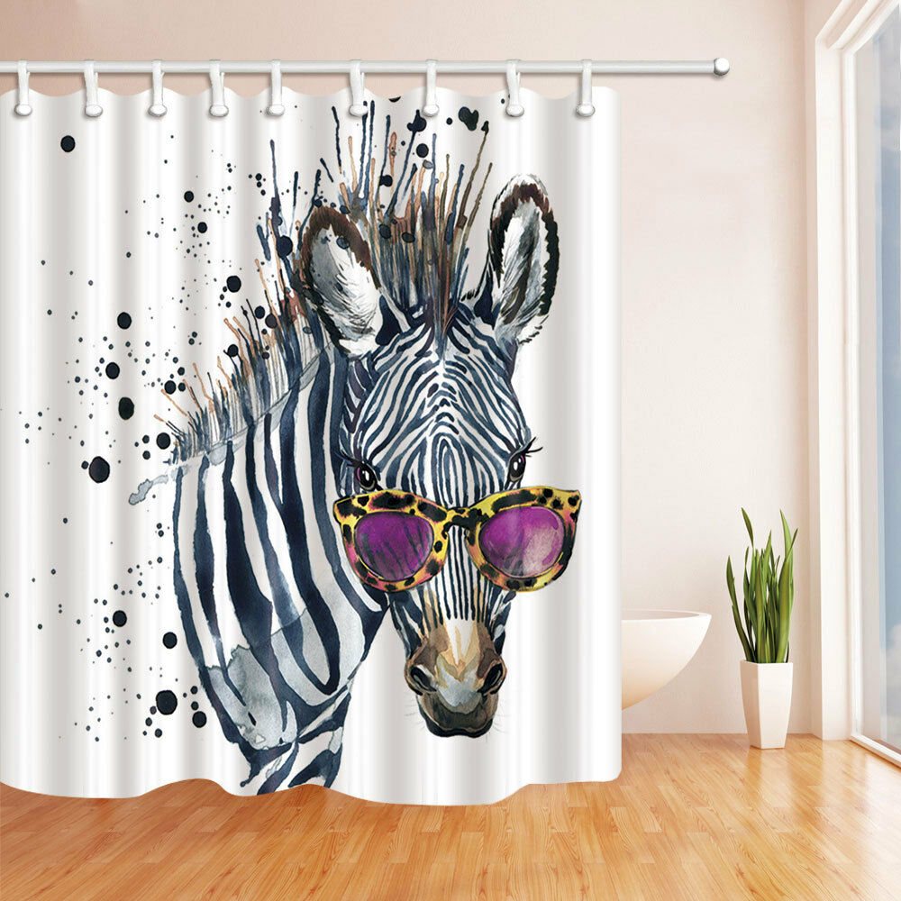 Details About Fashion Zebra Bathroom Decor Polyester Fabric Shower Curtain Liner 12 Hooks Set