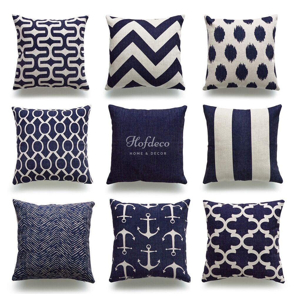 Hofdeco Throw Pillow Cover Navy Blue Nautical Coastal Geometric Cushion Cover eBay