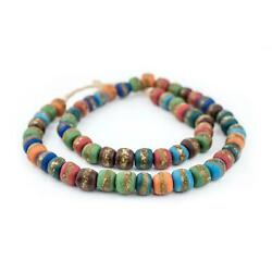 Mixed Kente Krobo Beads 14mm Ghana African Multicolor Round Glass Large Hole