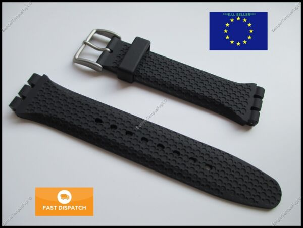 Top Quality Rubber 19mm 22mm Strap fits Swatch Irony Chrono Sistem51 + FREE PINS