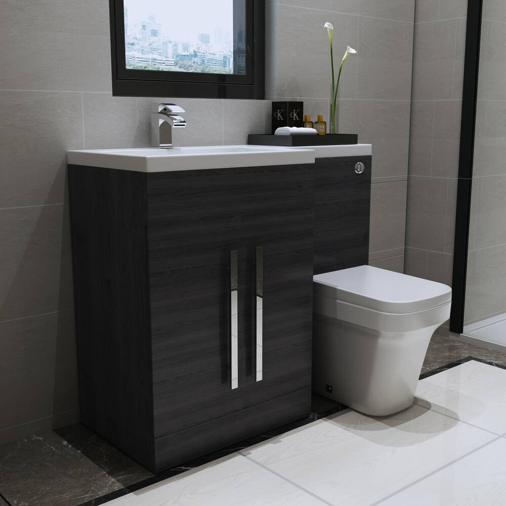 Grey LH Combination Bathroom Furniture Vanity Unit & Basin ...