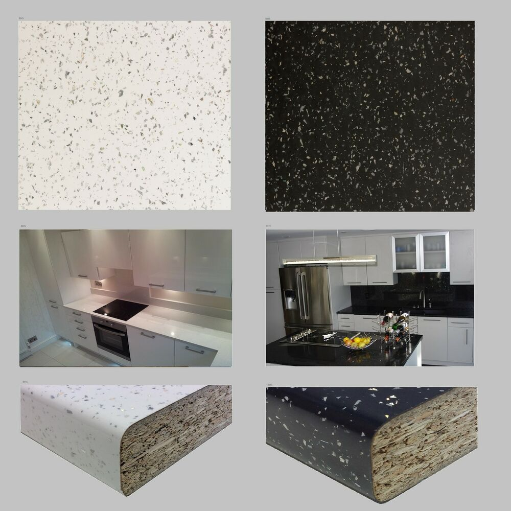 White Laminate Kitchen Worktops: LAMINATE KITCHEN WORKTOPS WORKTOP 3m 4.1m X 600mm - Black White Sparkle Spark