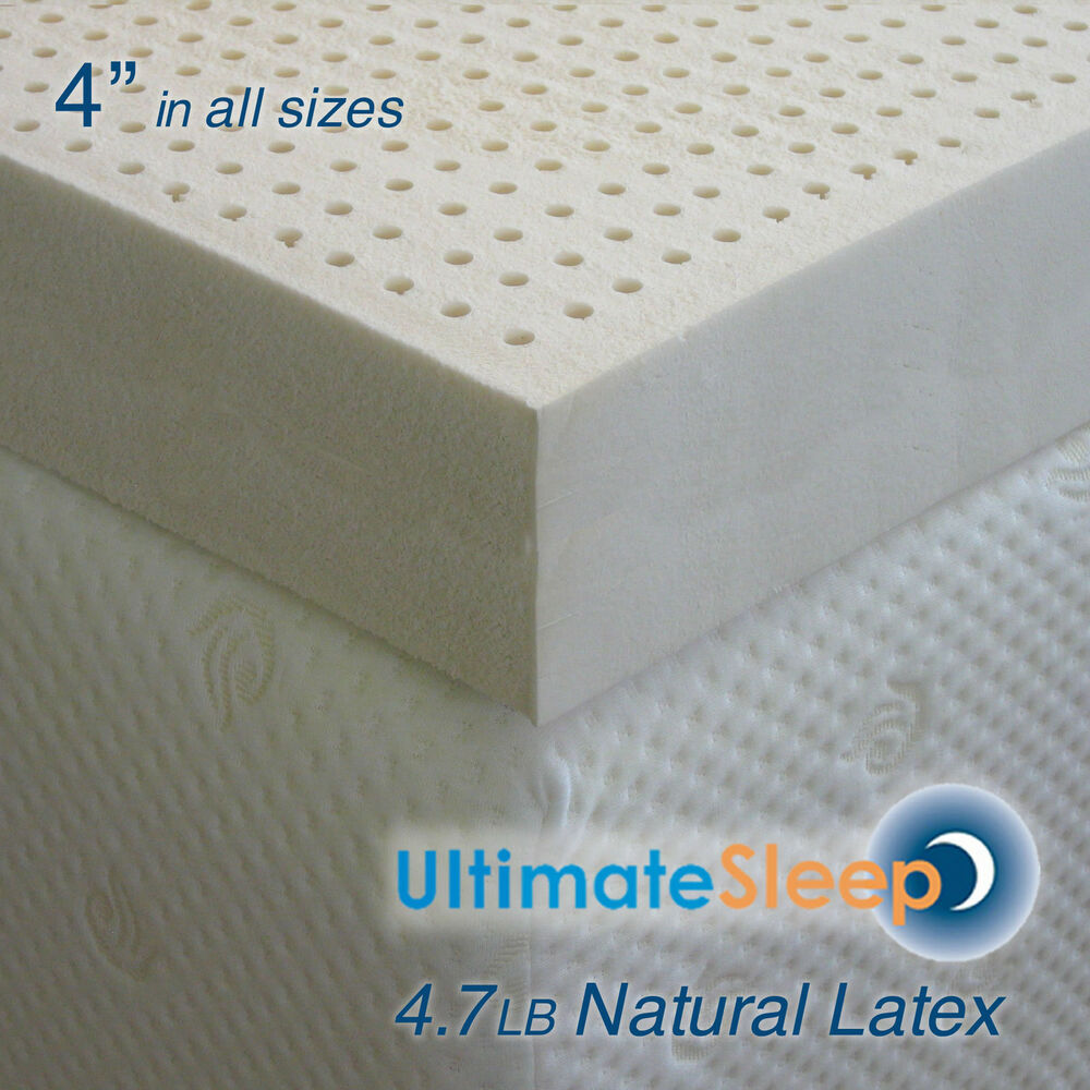 New 4 Inch 100 Natural Latex Mattress Pad Topper King