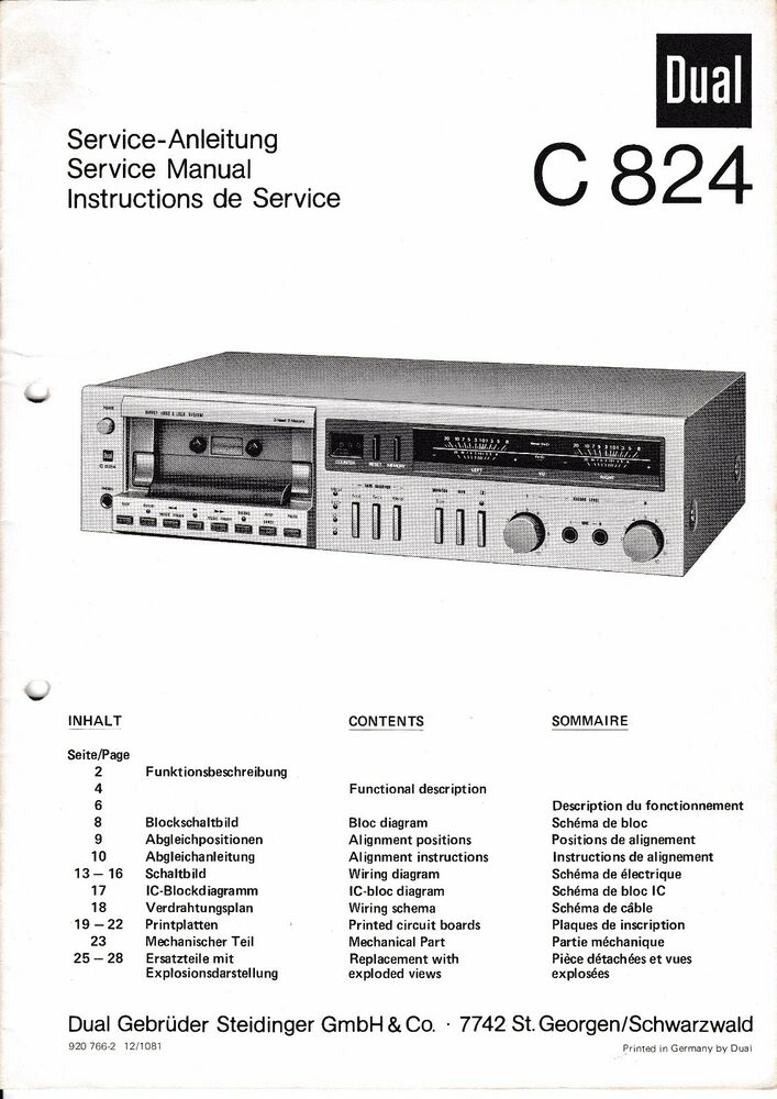 Service Manual Instructions For Dual C 824 Ebay