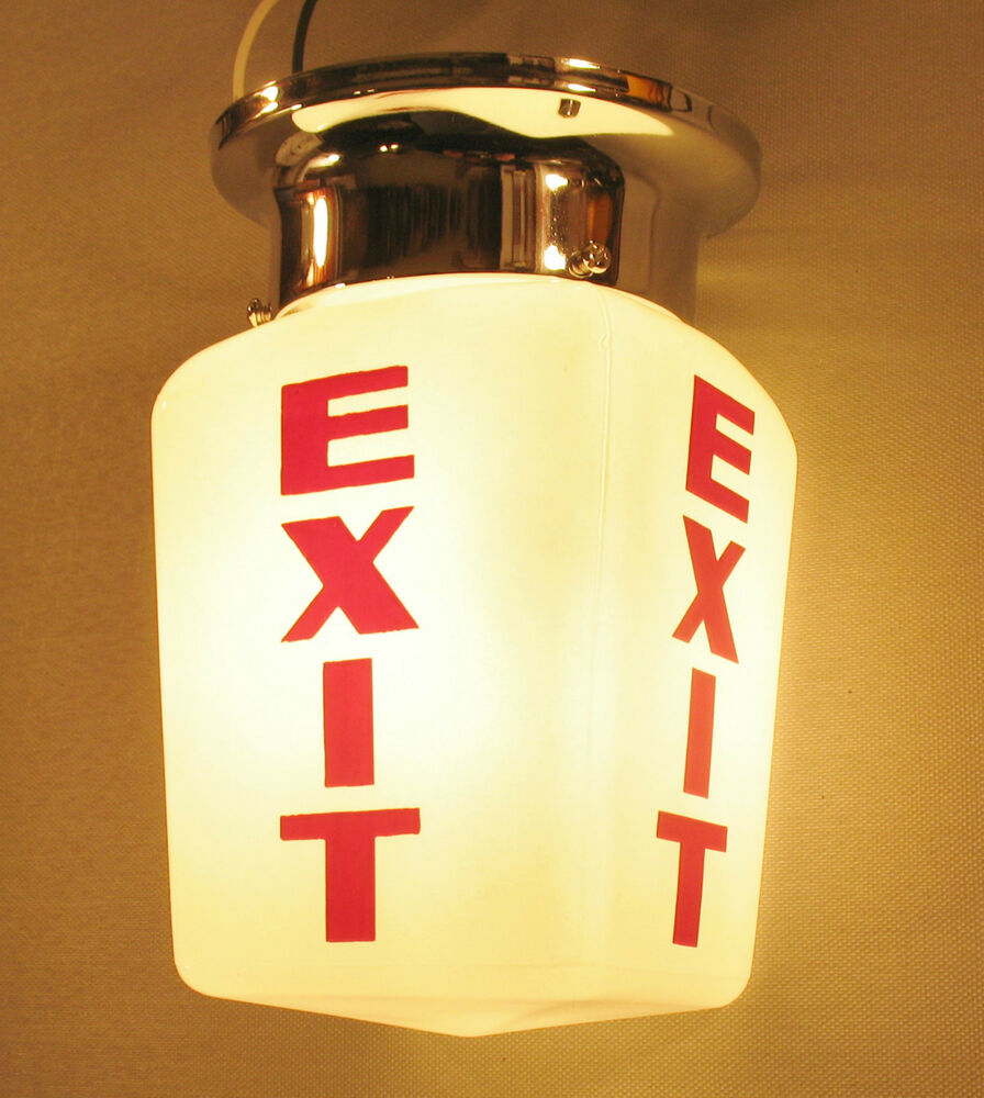 Home Theater Lighting Fixtures: Antique Vintage EXIT Sign Lamp Light Theater Art Deco