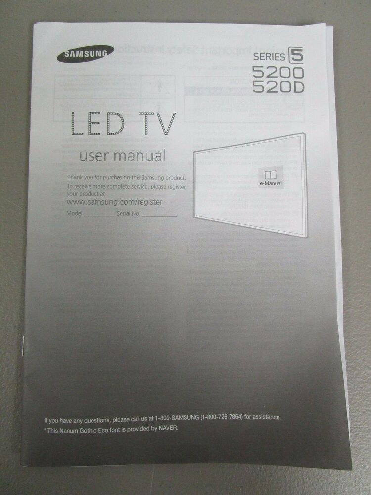 Samsung Led Tv Series 5 5200 520d User Manual New
