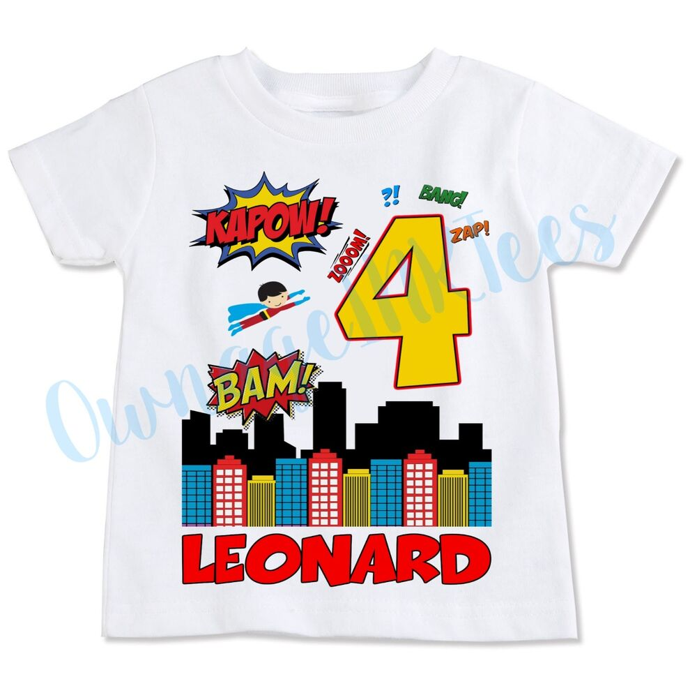 Details About Superhero Birthday T Shirt Personalize Custom Add Name Number OwnageINK