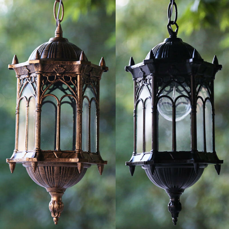 Outdoor hanging pendant exterior lantern light metal - Lights to hang on wall ...
