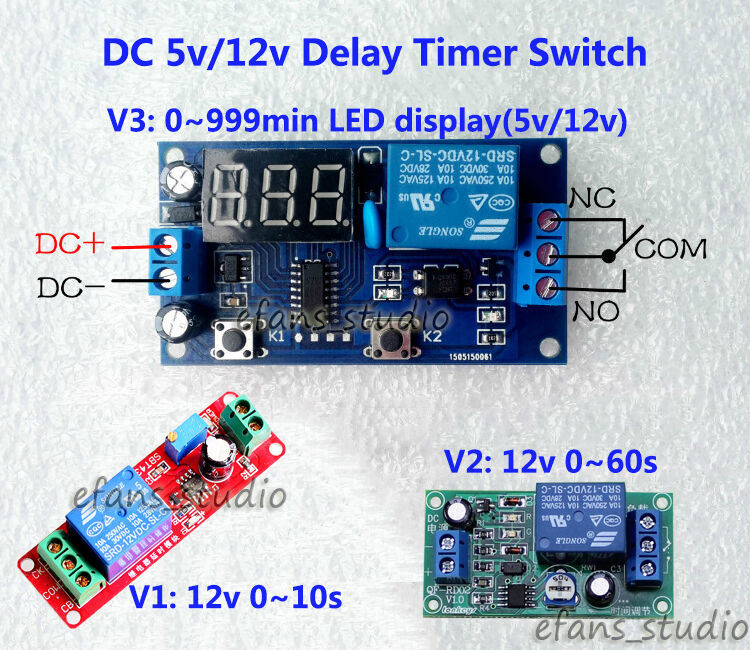 Dc5v 12v Adjustable Ne555 Delay Timer Time Relay Switch