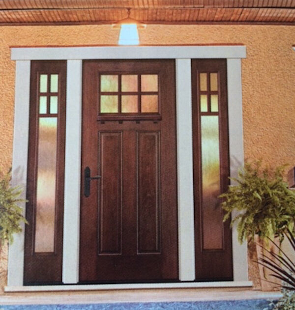 8ft craftsman 6 lite knotty alder front entry door with 2 for Front door and sidelights