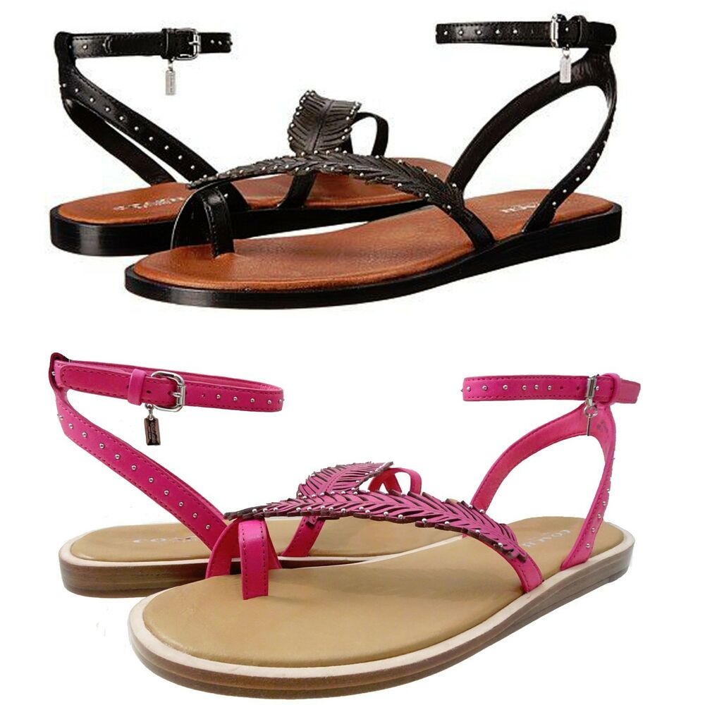 5140ca4b0baa4d Details about Coach Womens Beach Slip On Toe Ring Thong Studded Feather  Ankle Strap Sandals