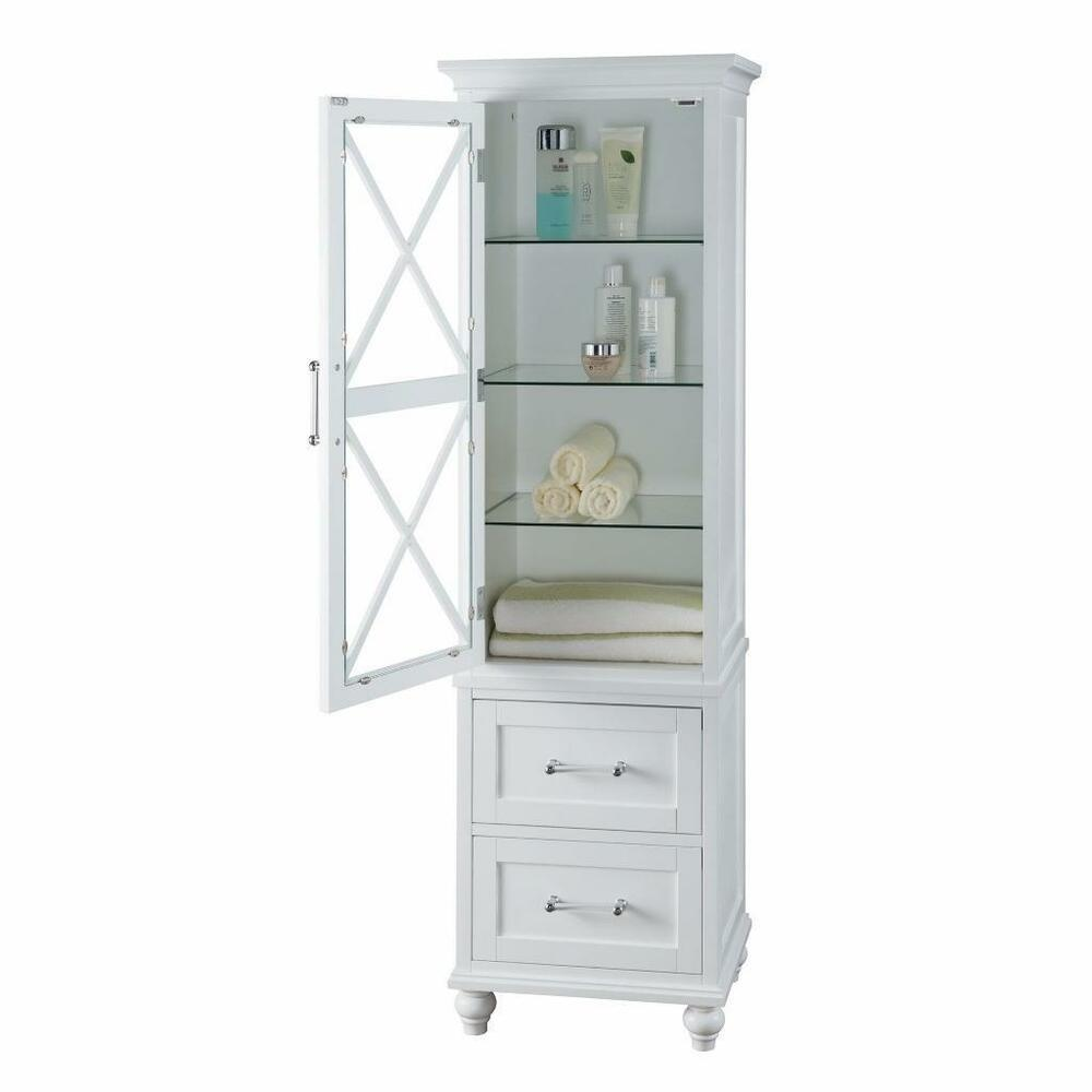 Modern White Wood Linen Tower Bathroom Storage Cabinet ...