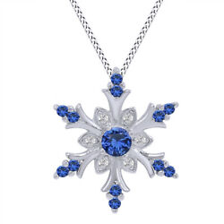 Blue & White Sapphire Snowflake Pendant in Sterling Silver
