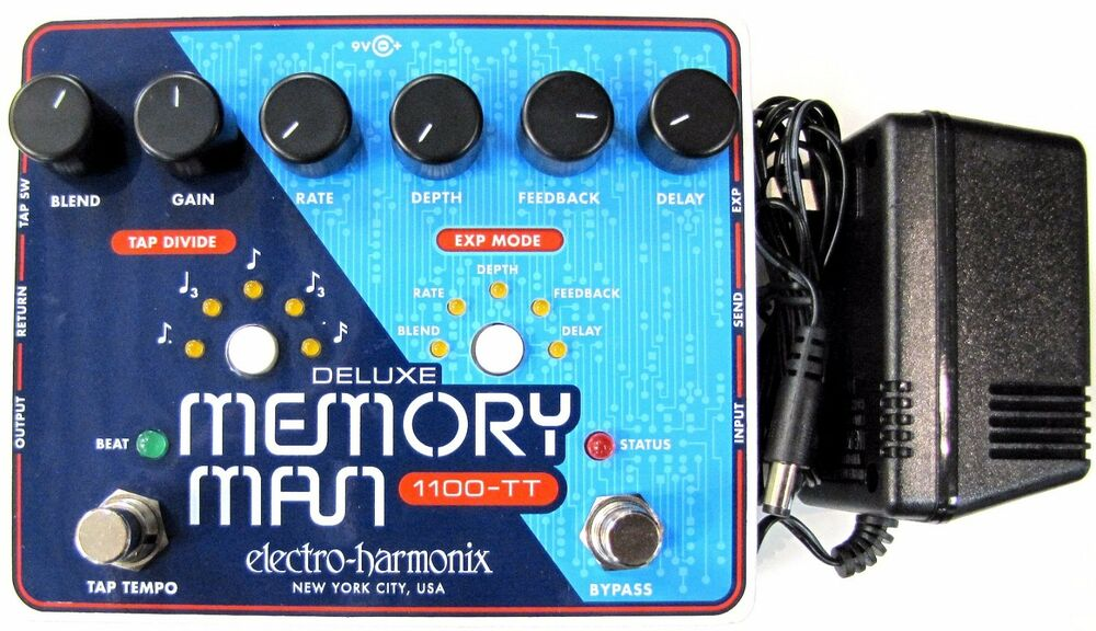 used electro harmonix deluxe memory man 1100tt tap tempo 1100 ms delay pedal tt ebay. Black Bedroom Furniture Sets. Home Design Ideas