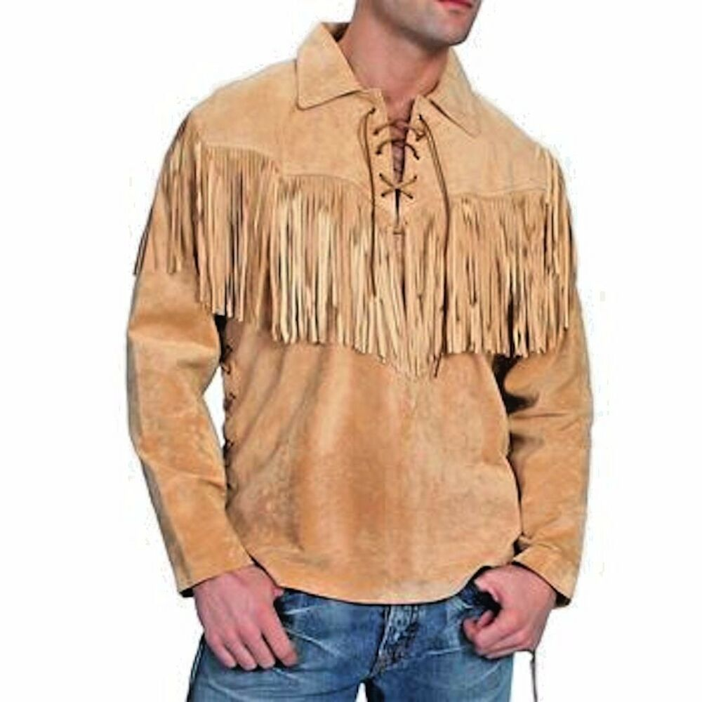 Men 39 s traditional western suede leather mountain man shirt for Mens shirts with leather