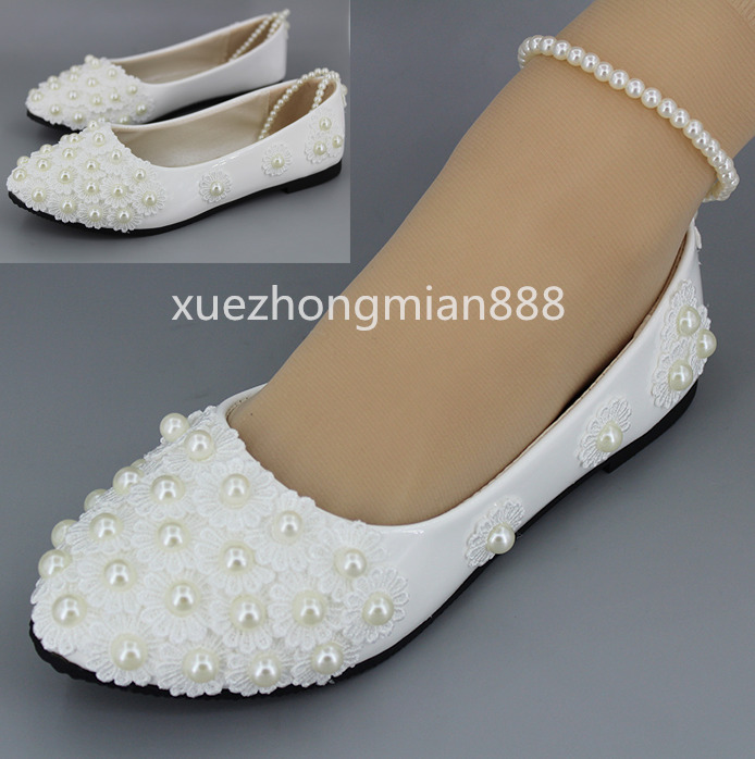 febf649525eac4 Details about hand-made White Wedding shoes Lace Rhinestones Bridal flats  low high heel pump