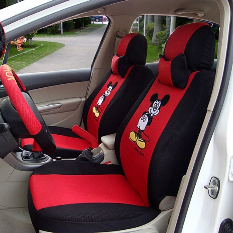 12 pcs embroidery mickey mouse car seat covers universal fit cute auto interior ebay for Davis seat covers automotive interiors