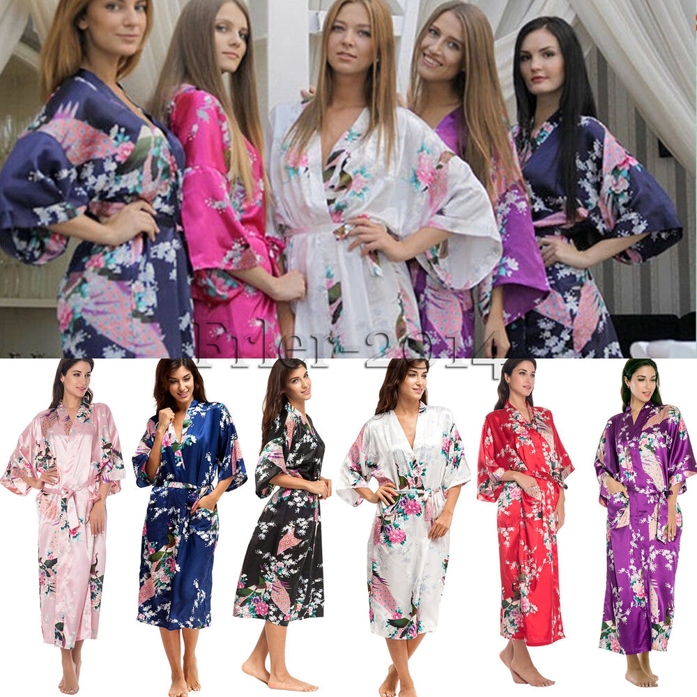 mode damen pfau kimono satin robe nachtw sche morgenmantel bademantel hausmantel ebay. Black Bedroom Furniture Sets. Home Design Ideas