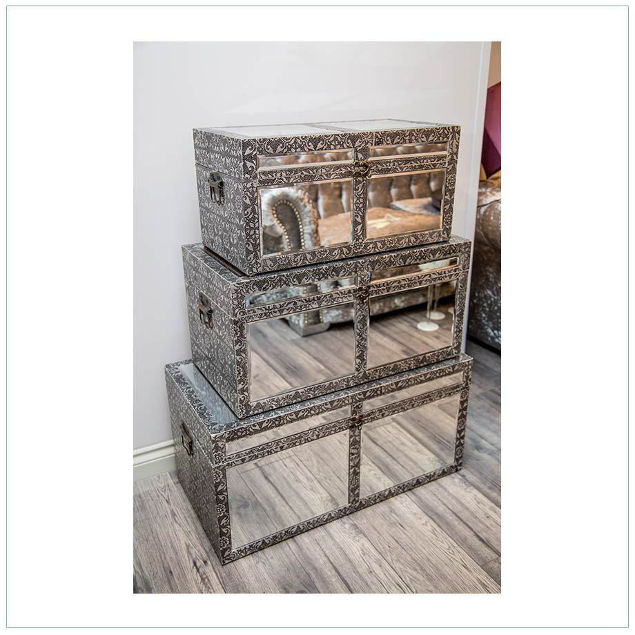 Set Of 3 Silver Embossed Mirrored Gl Storage Blanket Box Chest Large Trunks