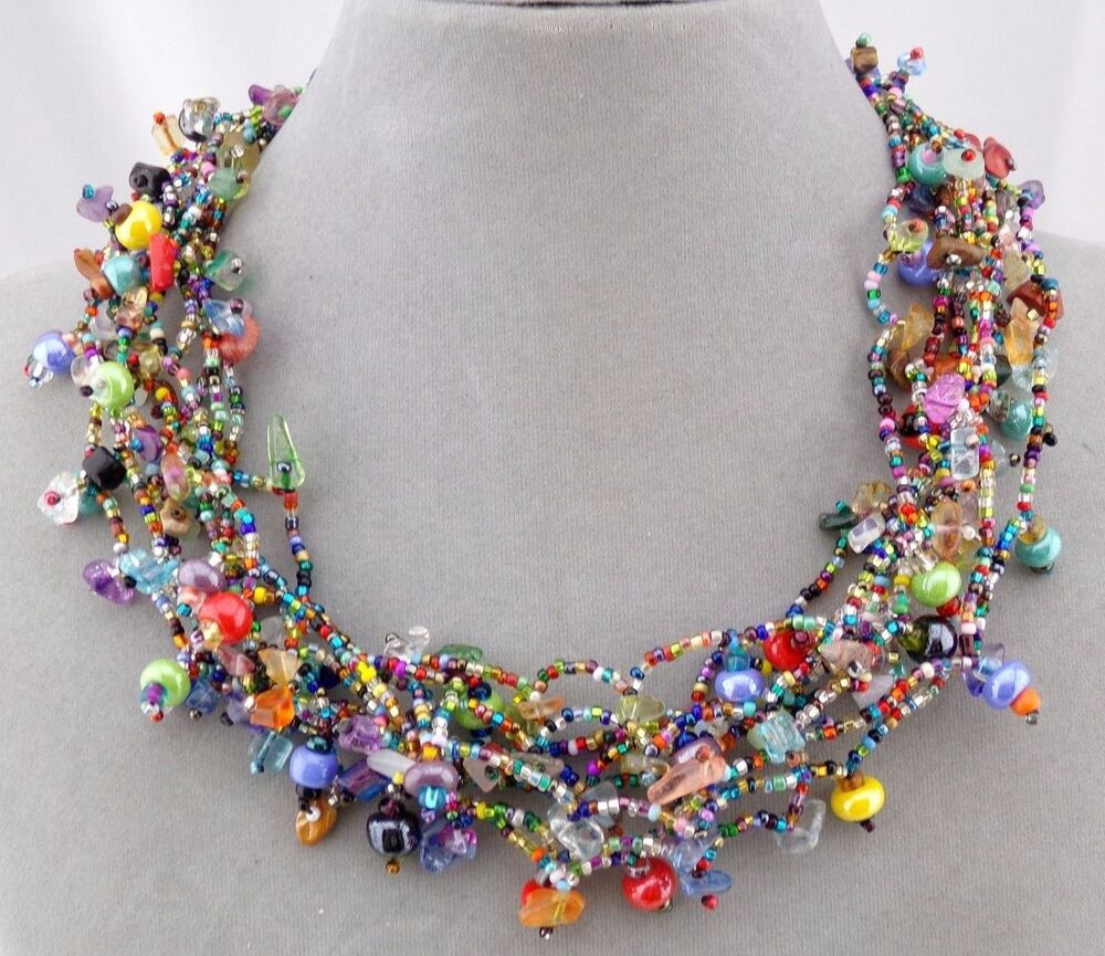 Necklace Beads: Chunky Multi Color Czech Glass Bead Necklace Magnetic