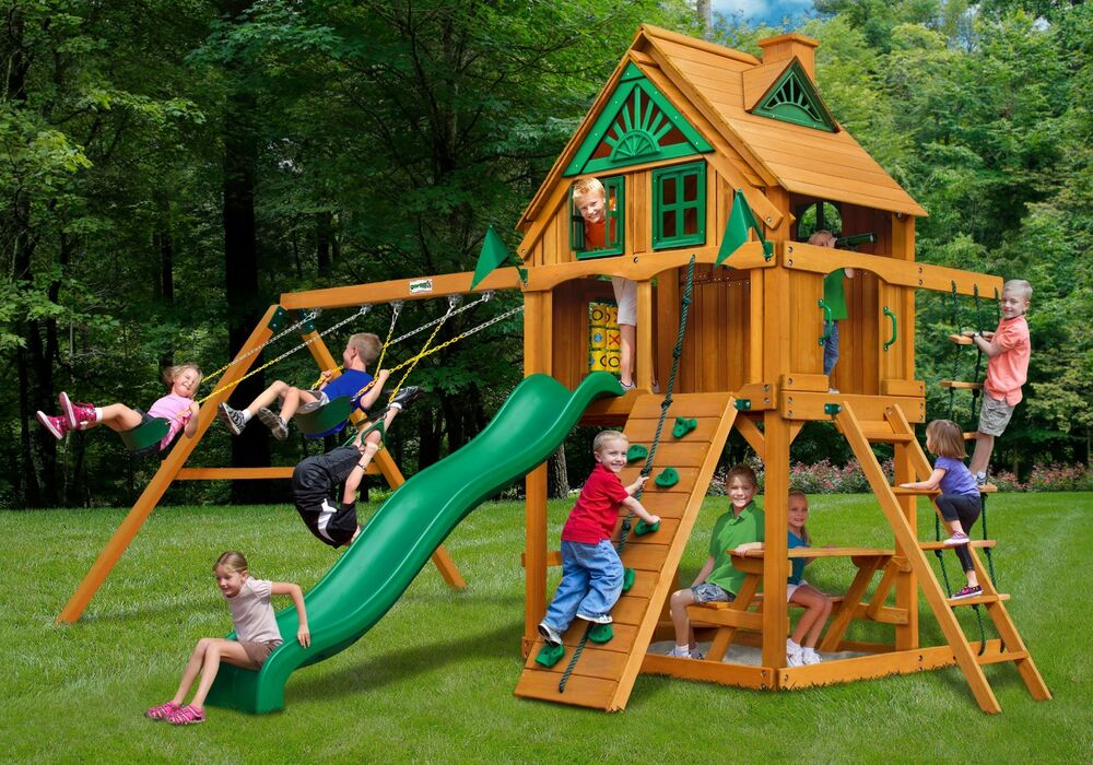 Outdoor Sierra Treehouse Swing Set W Fort Add On Wood Roof
