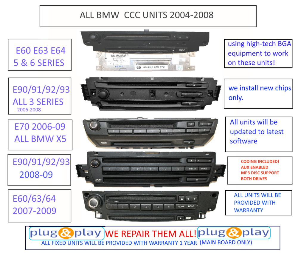 any bmw ccc unit navigation repair service e60 e92 e63 e70. Black Bedroom Furniture Sets. Home Design Ideas