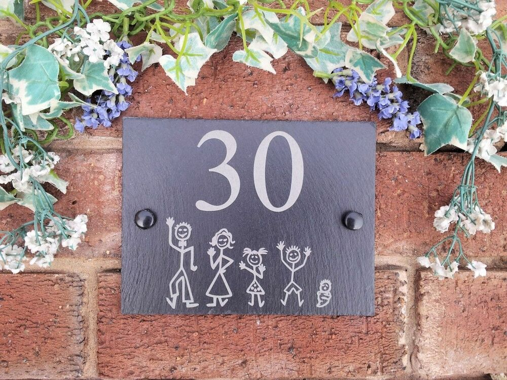 Personalised Natural Slate Stick Family House Name Or