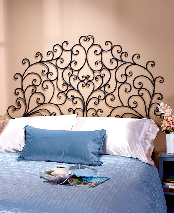Metal Wall Mount Scrolled Medallion Headboard Wall Art