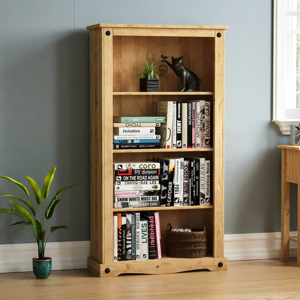 solid wood storage cabinets corona medium bookcase 4 shelves mexican solid waxed pine 26478