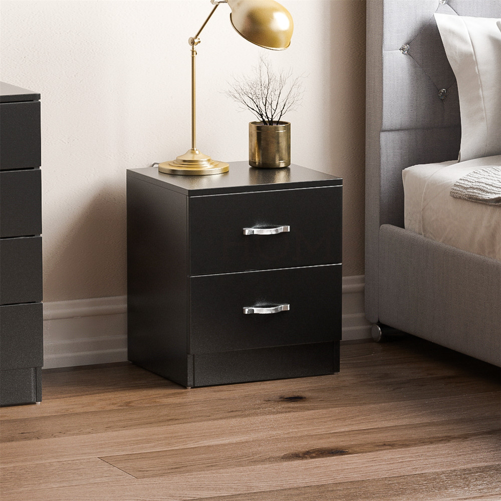 Riano 2 drawer chest black wood dresser bedroom storage furniture unit 5055998417656 ebay