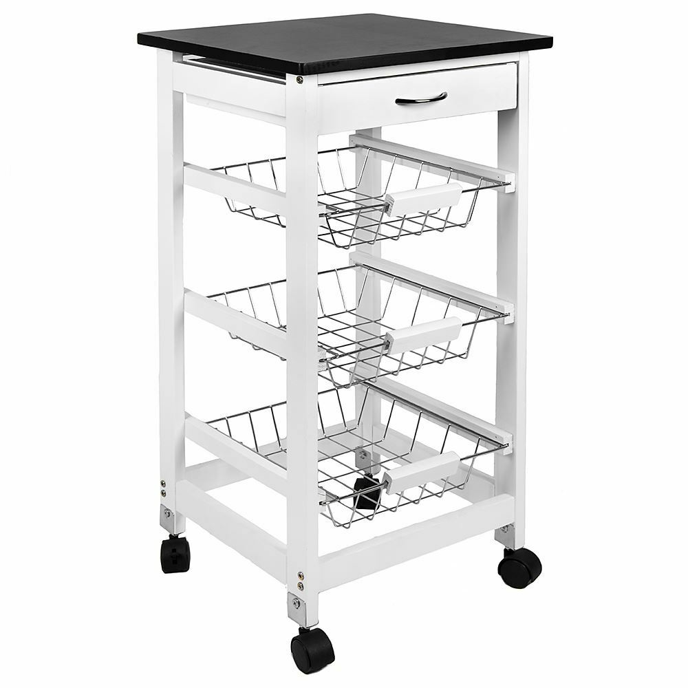 Furniture Beautiful Pine Wood Movable Kitchen Island With: 3 TIER KITCHEN TROLLEY White Storage Portable Cart Basket