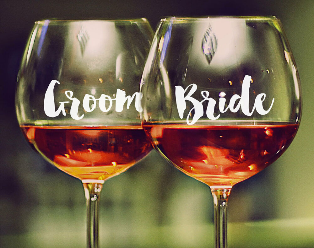 Details about 1 x custom wedding wine glass decal sticker bridal party personalised gift