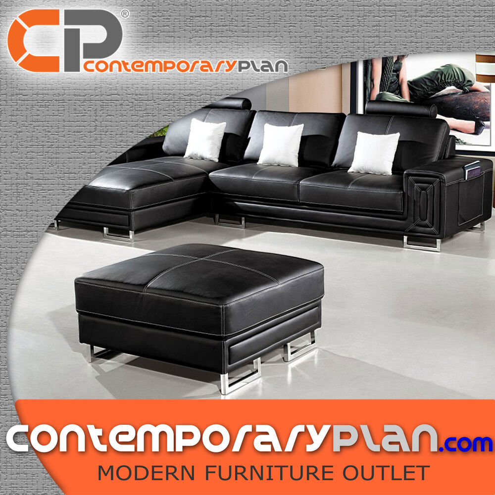 Details About Contemporary Compact Black Leather Sectional Sofa With Ottoman Modern Couch New