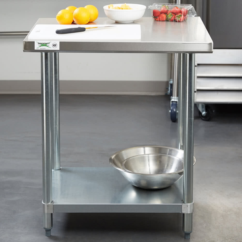 "Industrial Kitchen Prep Table: 24"" X 30"" Stainless Steel Work Prep Shelf Table Restaurant"