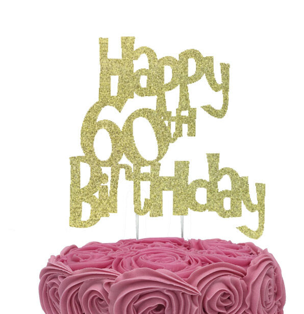 Details About Happy 60th Birthday Cake Topper