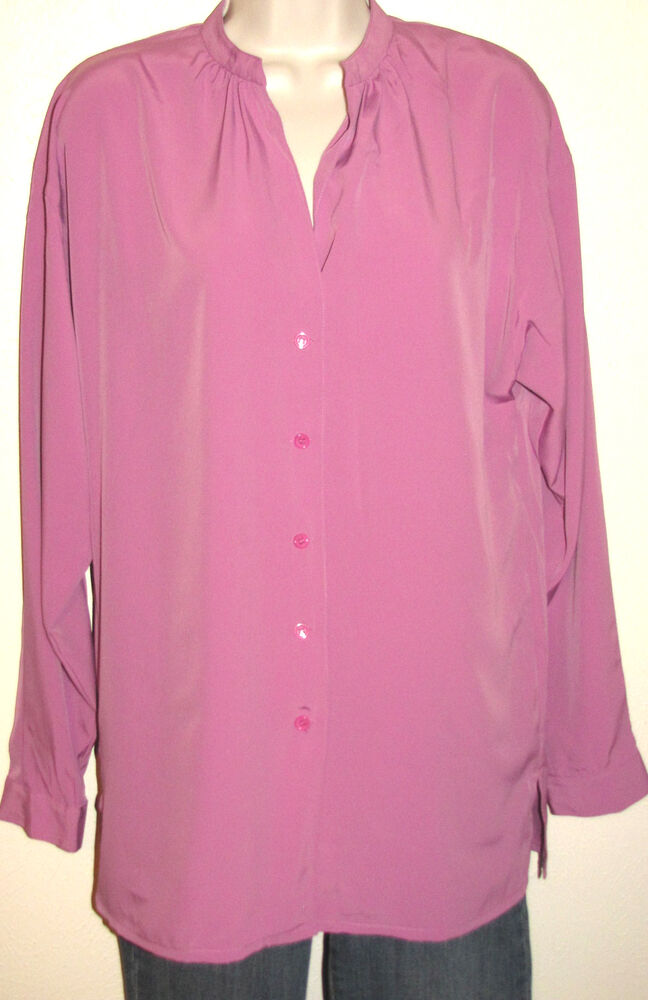 6393c799f6aff8 Details about Ellen Tracy Long Sleeve Button Down Silky Lavender Blouse  Size Small NWT