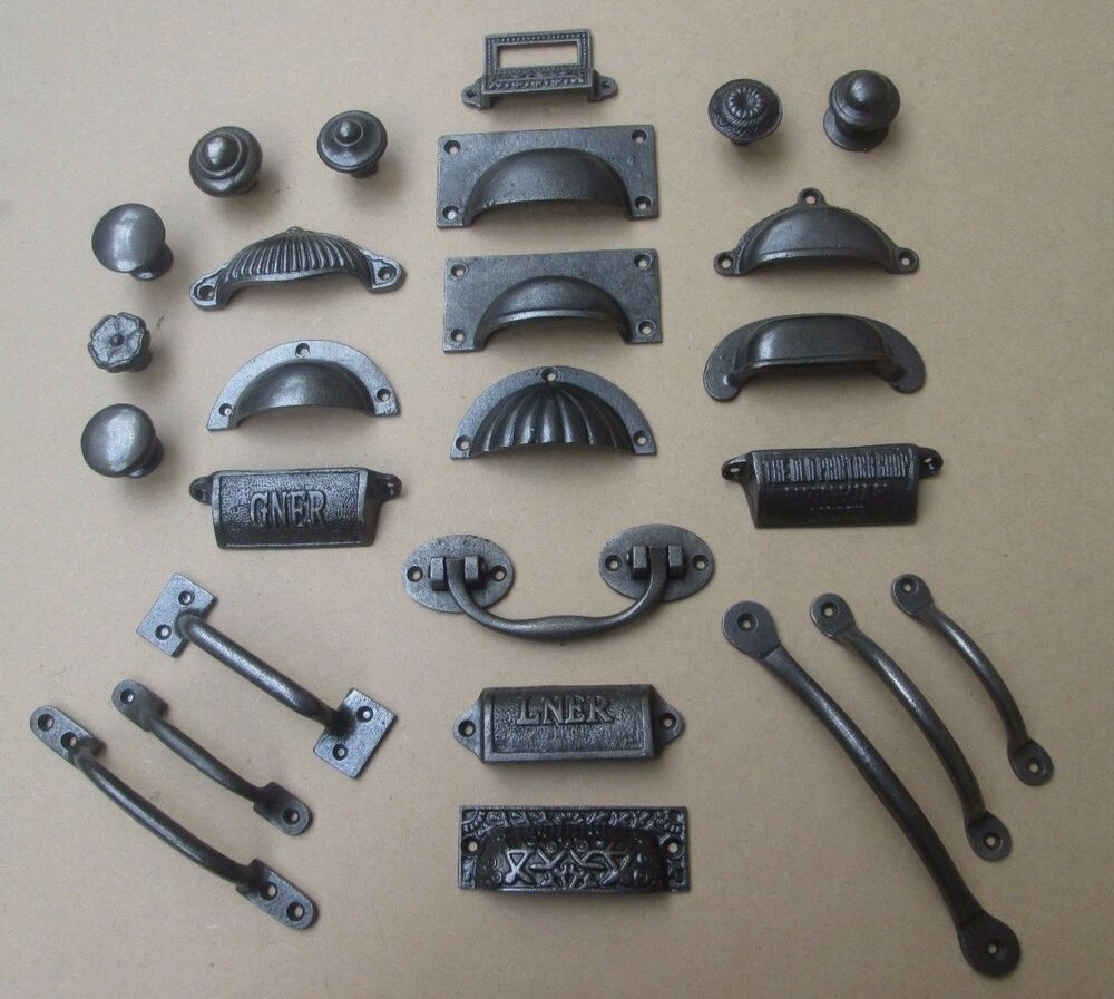 Rustic Hardware For Kitchen Cabinets: RUSTIC IRON Chest Drawer Door Handles & Knobs Wardrobe