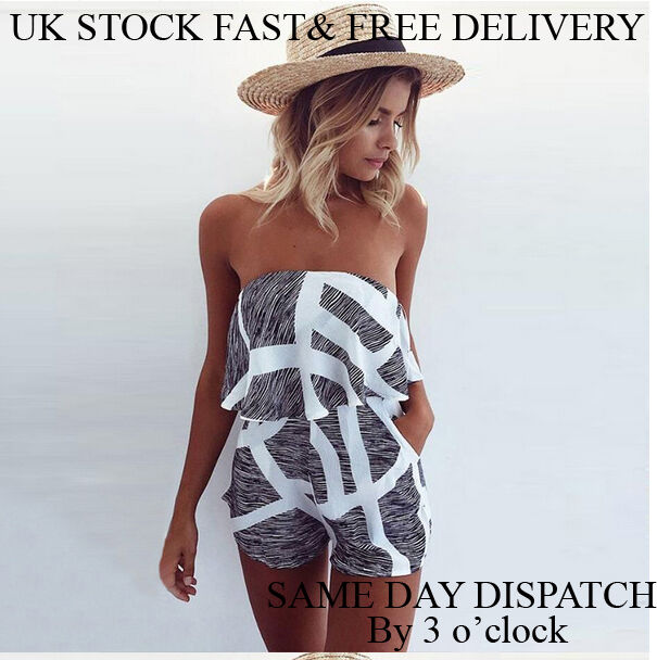 36ec2815f06 Details about Womens Holiday Mini Playsuit Ladies Causal Summer Beach 8-14  UK Stock Vincenza