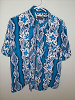 Hawaiian ALOHA style shirt Mens sz XL  royal blue floral  surf tropical island