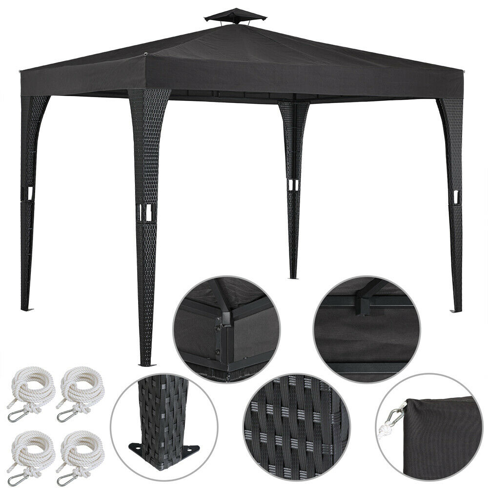 pavillon 3x3m partyzelt gartenm bel garten zelt pavillion metall polyrattan ebay. Black Bedroom Furniture Sets. Home Design Ideas