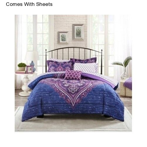 Girl S 6 Piece Purple Twin Twin Xl Size Comforter Bedding