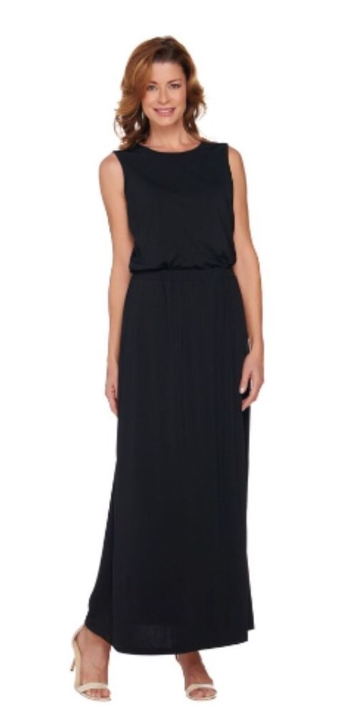Joan Rivers Petite Length Jersey Knit Maxi Dress With Pockets Black