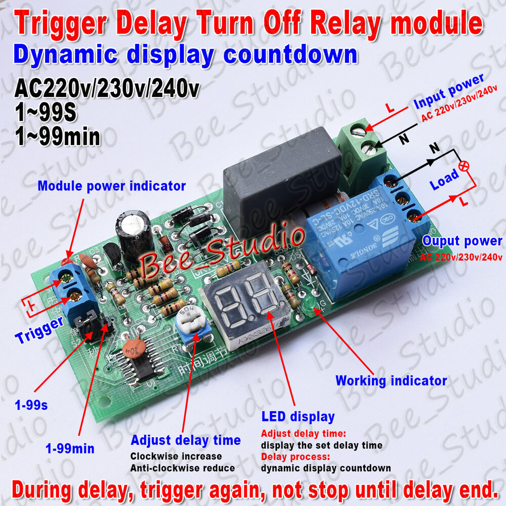 Ac 220v 230v Trigger Timer Delay Turn Off Switch Board